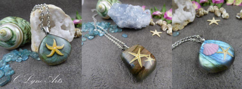pendentifs labradorite étoiles de mer peintes à la main, bijoux de créateur