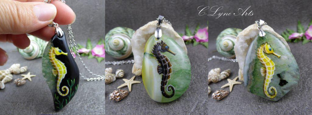 pendentifs hippocampes peints à la main sur des pierres naturelles