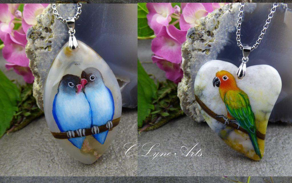 pendentifs oiseaux exotiques, inséparables, perroquet, ara