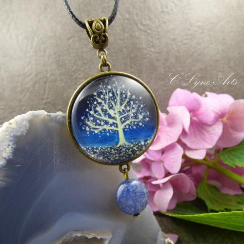 Pendentif arbre de vie, photo sous cabochon en verre, perle d'AGATE