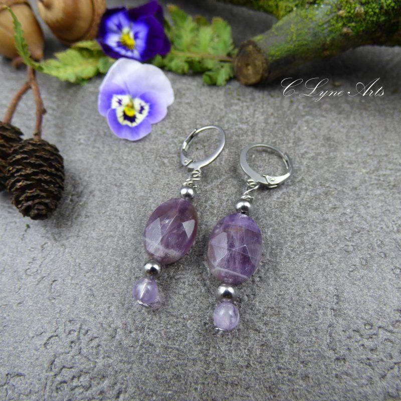 boucles d'oreilles poétiques, romantique en pierre naturelle d'amétrine, pièces uniques, bijou de créateur