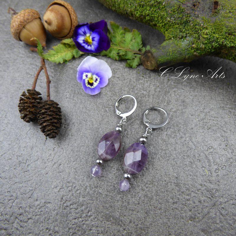boucles d'oreilles poétiques, romantique en pierre naturelle d'amétrine pièces uniques, bijou de créateur