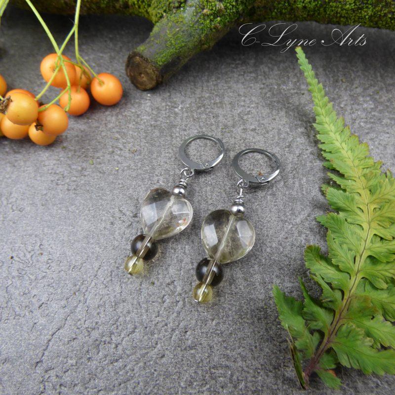 boucles d'oreilles romantiques en forme de coeur, pierres fines, quartz fumé et citrine
