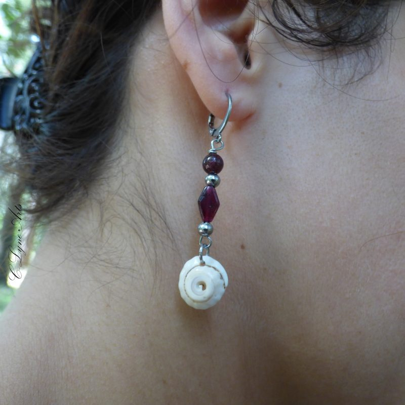 boucles d'oreille en coquillage et grenat, pierres naturelles