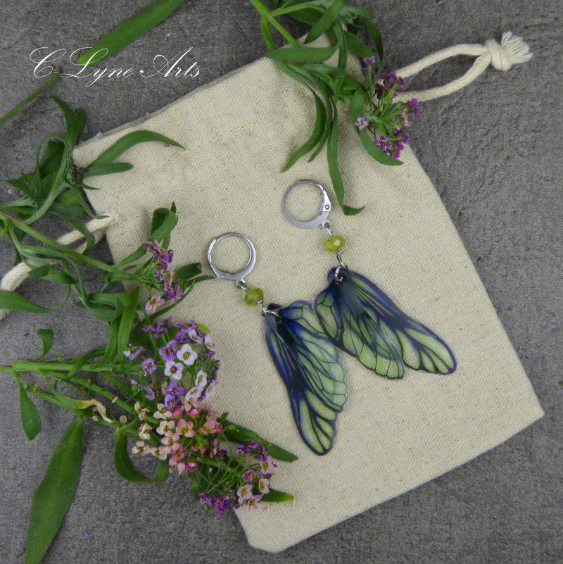 Boucles d'oreilles aux ailes de fée, bijou féerique et médiéval