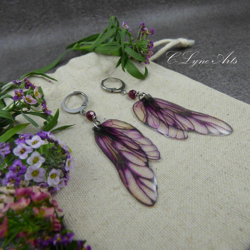 boucles d'oreilles féeriques aux ailes de fée, bijou elfique