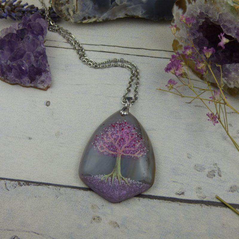 PENDENTIF en pièce unique, bijou artisanal féerique avec arbre de vie