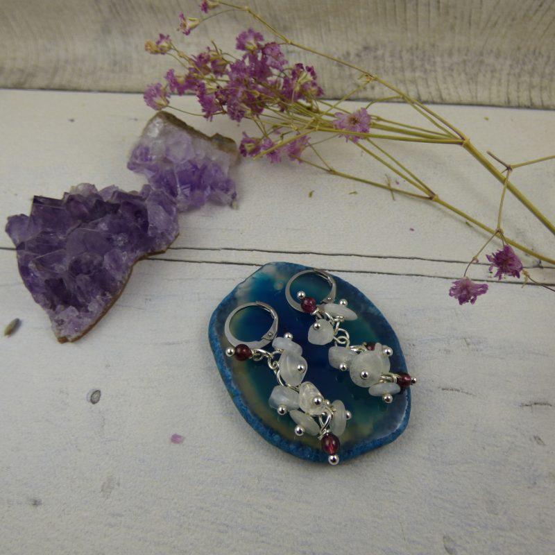 Boucles d'oreilles romantique, grappe de perles en pierres naturelles