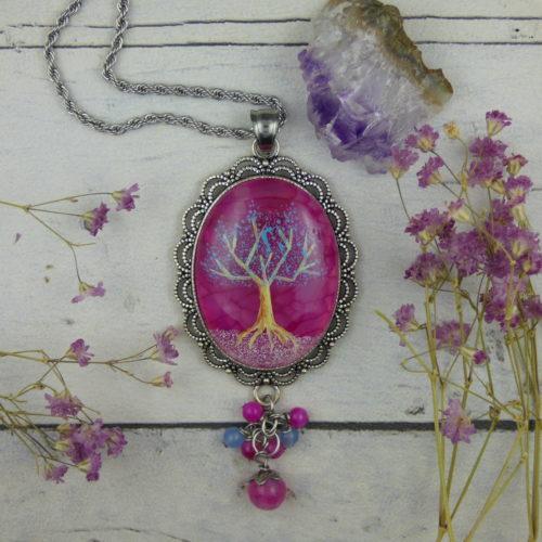 PENDENTIF artisanal avec Arbre de vie peint à la main sur une pierre d'agate rose