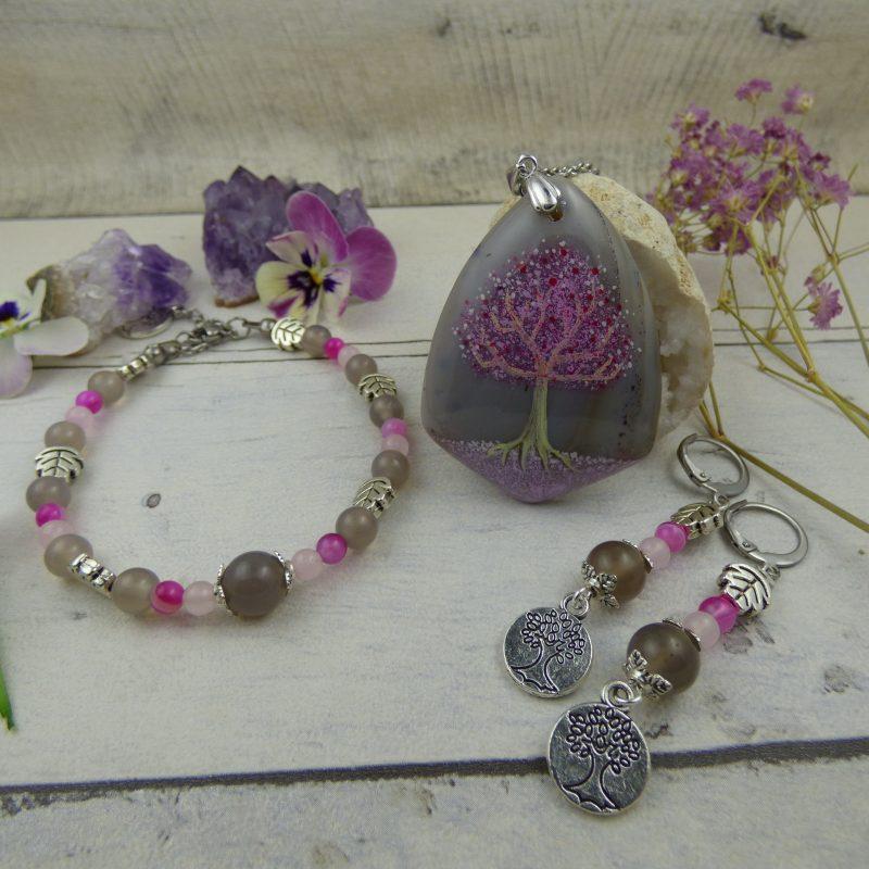 PARURE Arbre de vie, pierres fines, bijoux artisanal féerique
