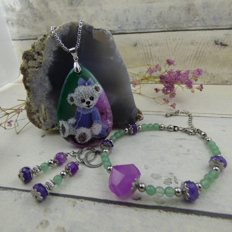 parure en pierres fines, pièce unique, perles d'agate et noursette