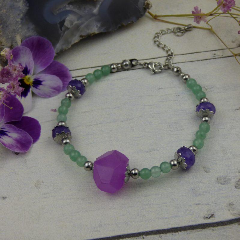bracelet en pierre d'agate et aventurine, bijou unique