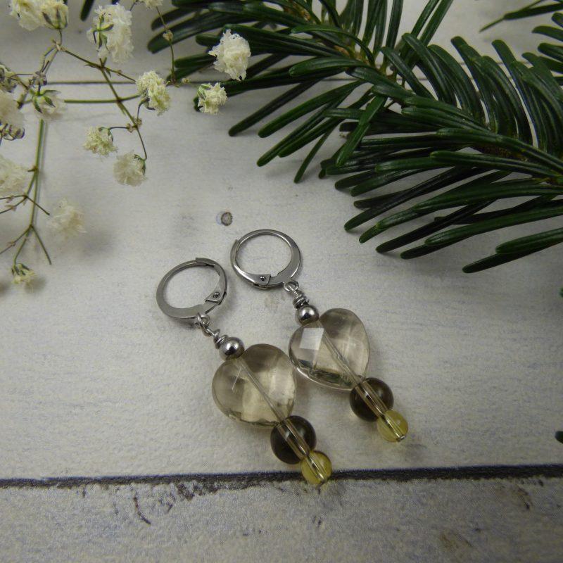 boucles d'oreilles en pierres fines, quartz fumé et citrine