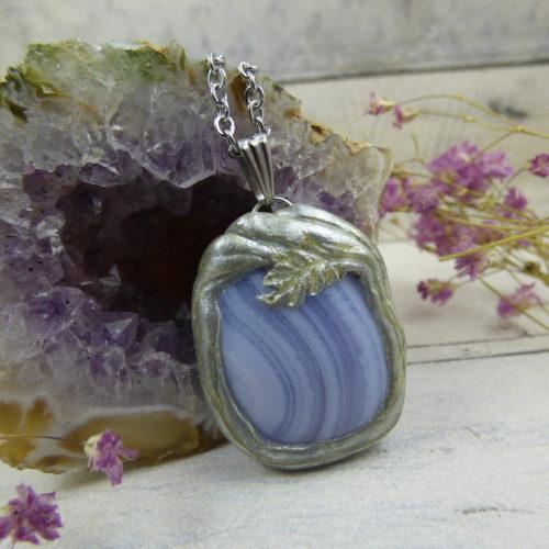 PENDENTIF en fimo, argile polymère avec agate blue lace