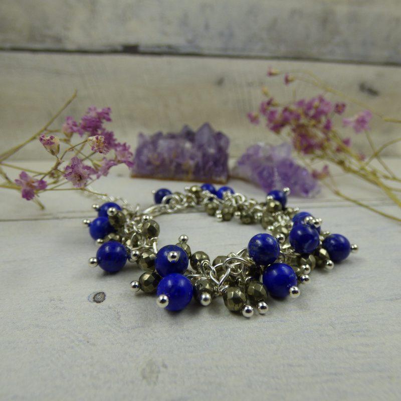 Bracelet artisanal en perles de lapis lazuli et pyrite