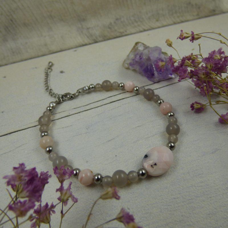 """Bracelet unique en perles fines """"Rose délicate"""" : agate et opale rose"""