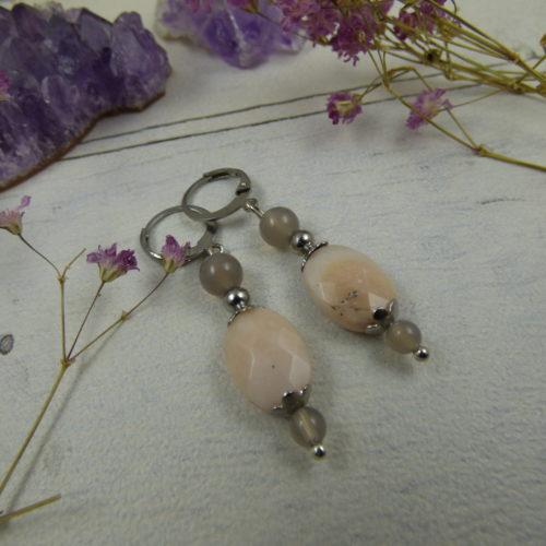 """boucles d'oreilles uniques en perles fines """"Rose délicate"""" : agate et opale rose"""