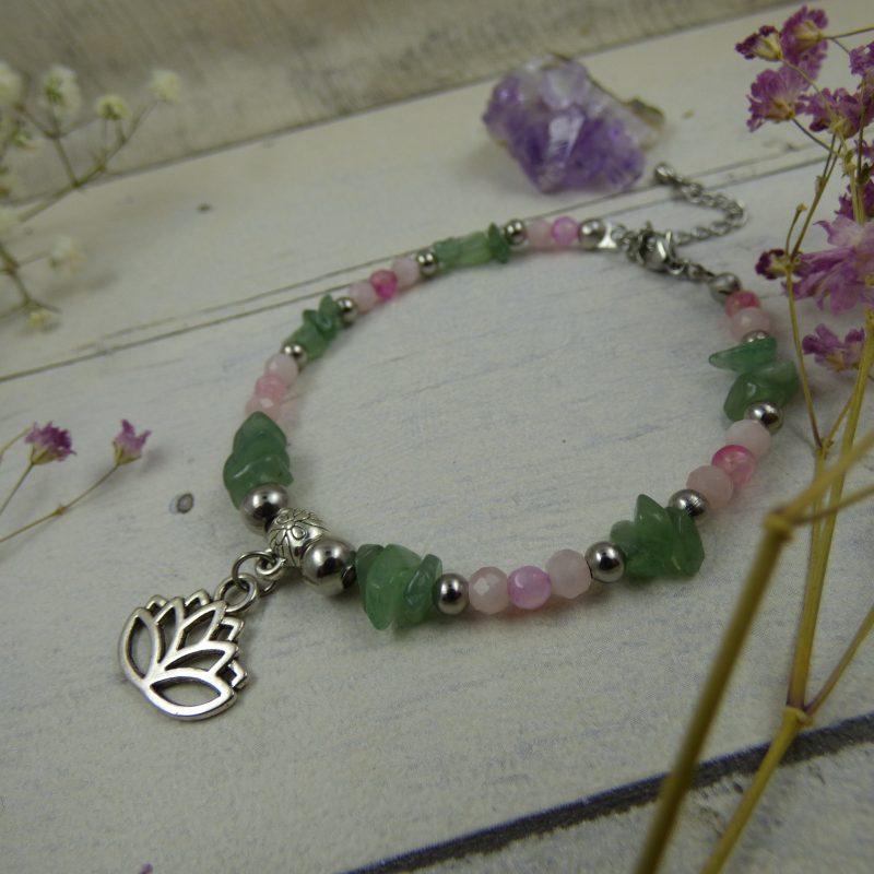 Bracelet unique en perles fines, aventurine, agate et quartz rose