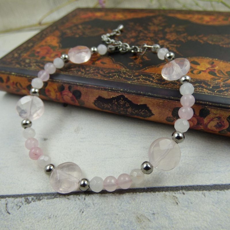 bracelet en pierre naturelle de quartz rose - pièce unique
