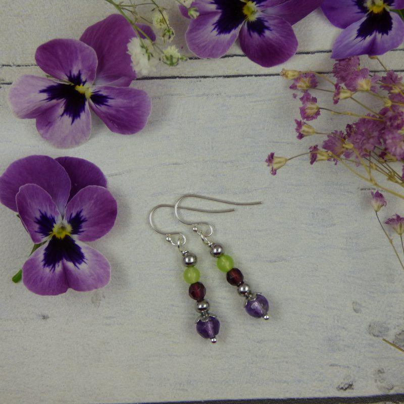 Boucles d'oreilles féeriques en pierres naturelles, bijou artisanal