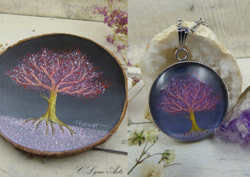 pendentif illustré par une peinture d'arbre de vie par C-Lyne Arts