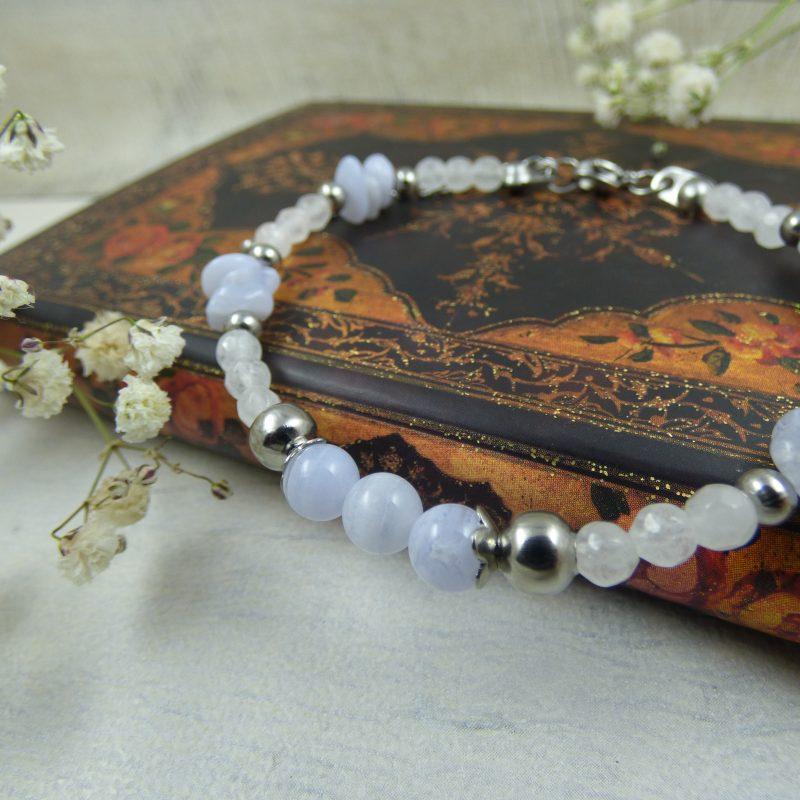 Bracelet en agate blue lace, bijou artisanal, pièce unique