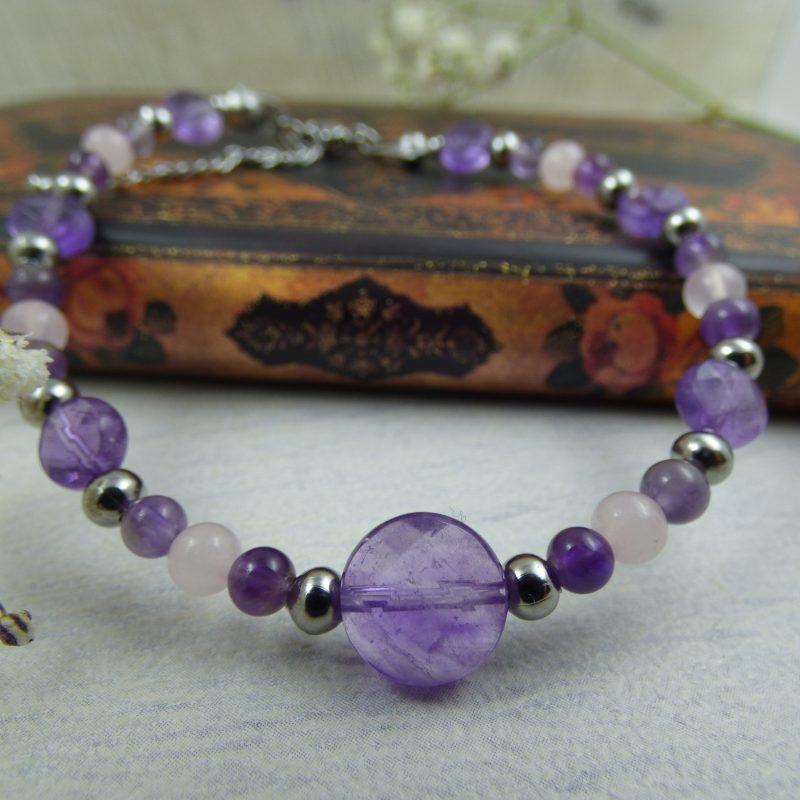 Bracelet en améthyste et quartz rose, bijou artisanal, pièce unique