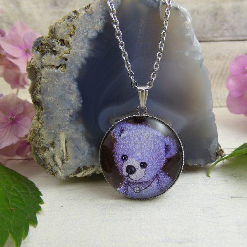 bijou nounours violet sur cabochon