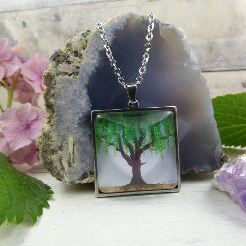 medaillon arbre de vie saule pleureur illustre