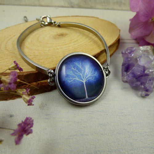 bracelet cabochon arbre bleu