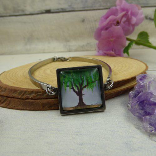 bracelet cabochon arbre saule pleureur