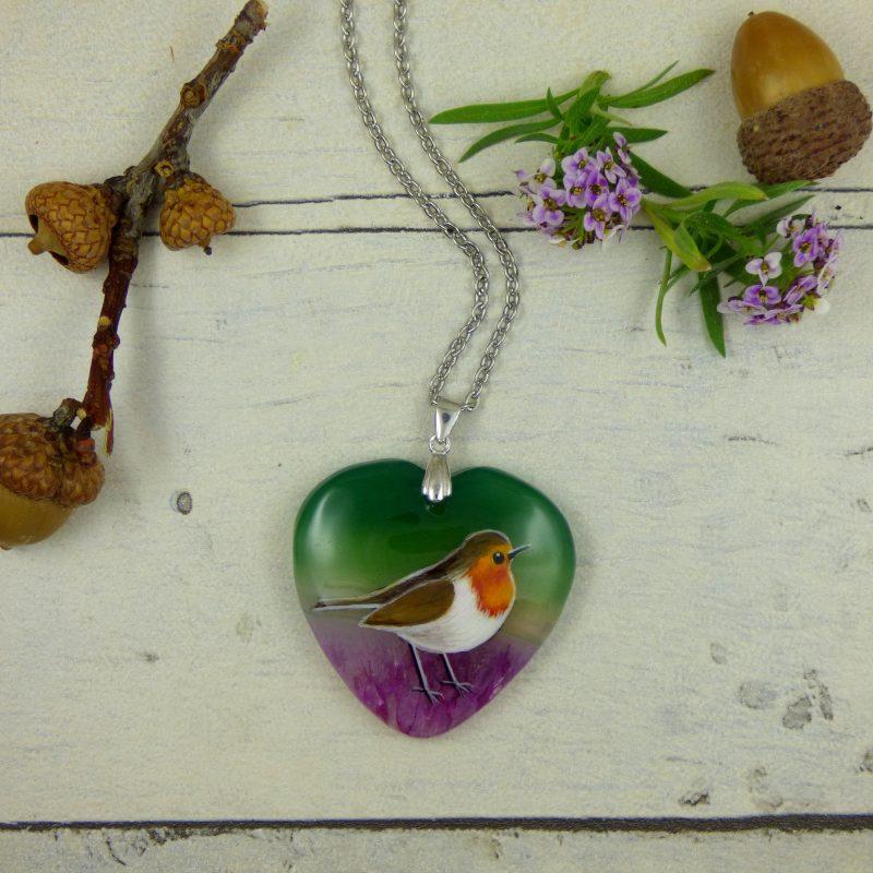 pendentif pierre d'agate avec oiseau peint à la main