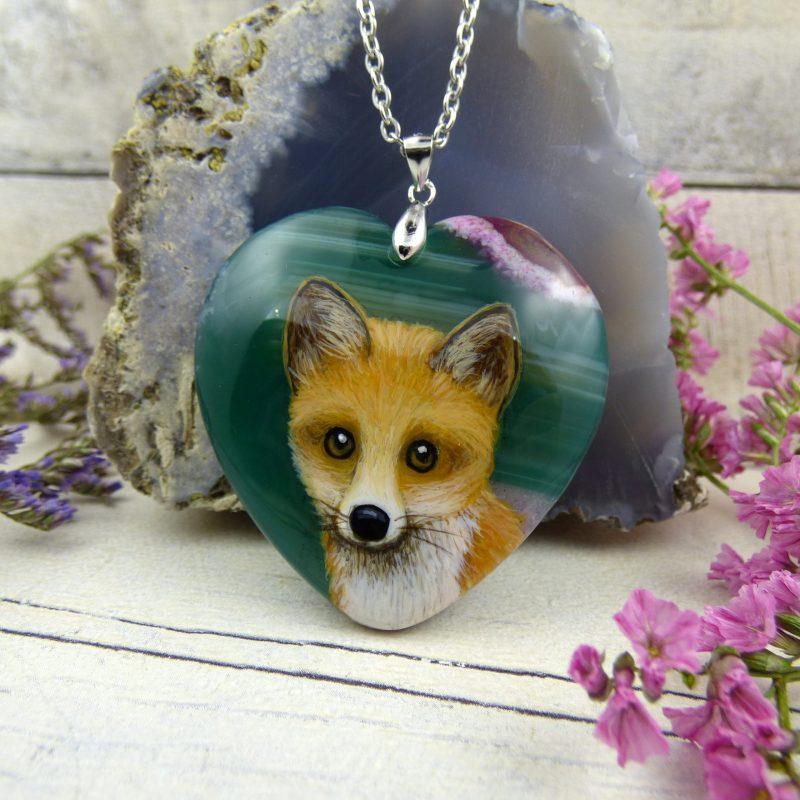 renard peint à la main sur pierre d'agate