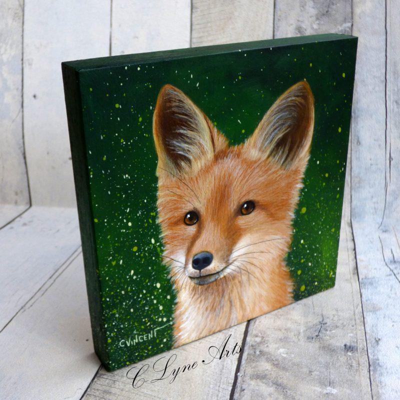 Tableau peinture d'un petit renard