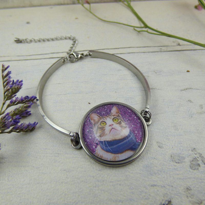bracelet avec la photo d'un chat