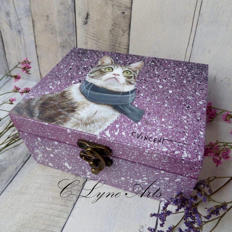 coffret à bijoux en bois avec chat peint à la main