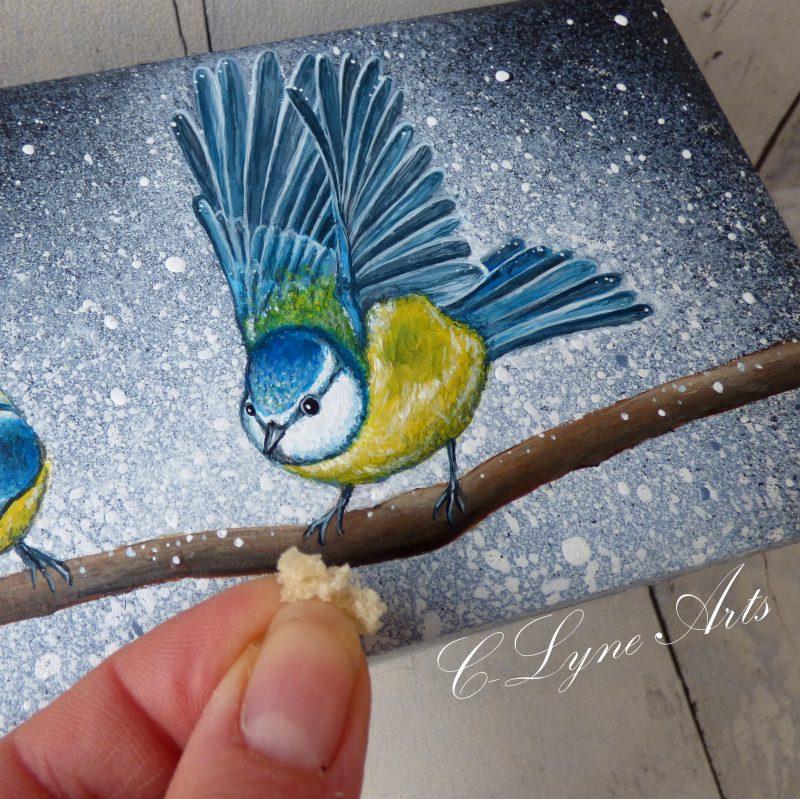coffret a bijoux avec peinture d'une mesange bleue
