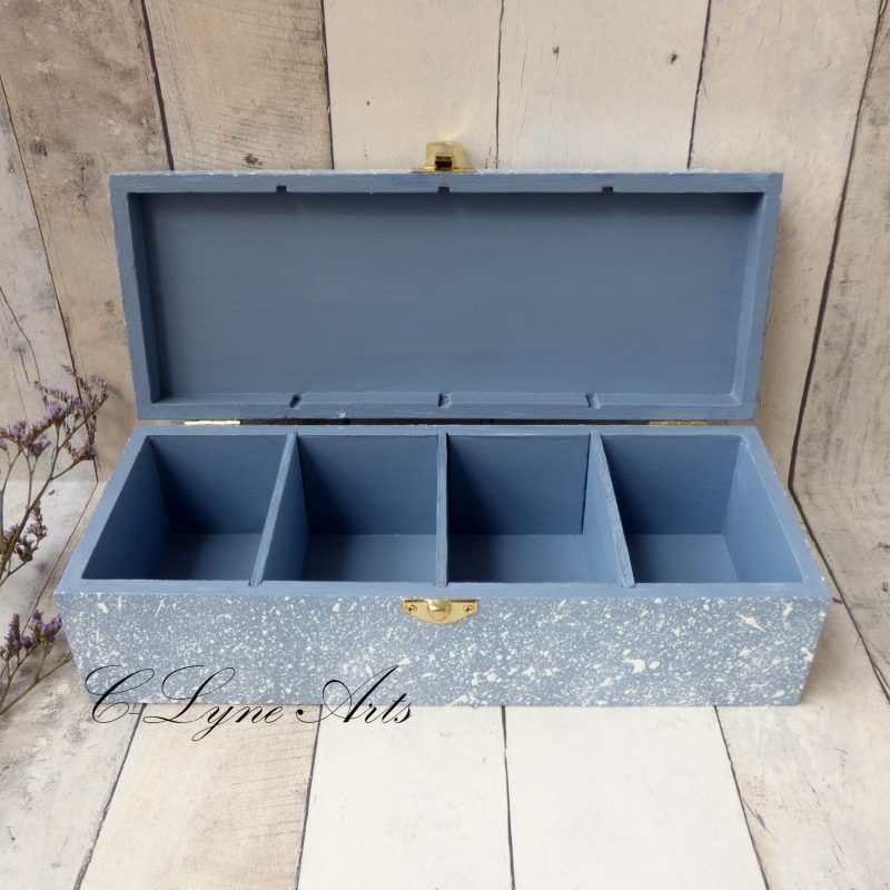 coffret a bijoux en bois peint bleu gris 4 compartiments