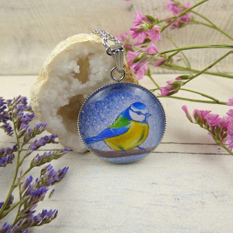 bijoux avec la photo d'une mesange bleue
