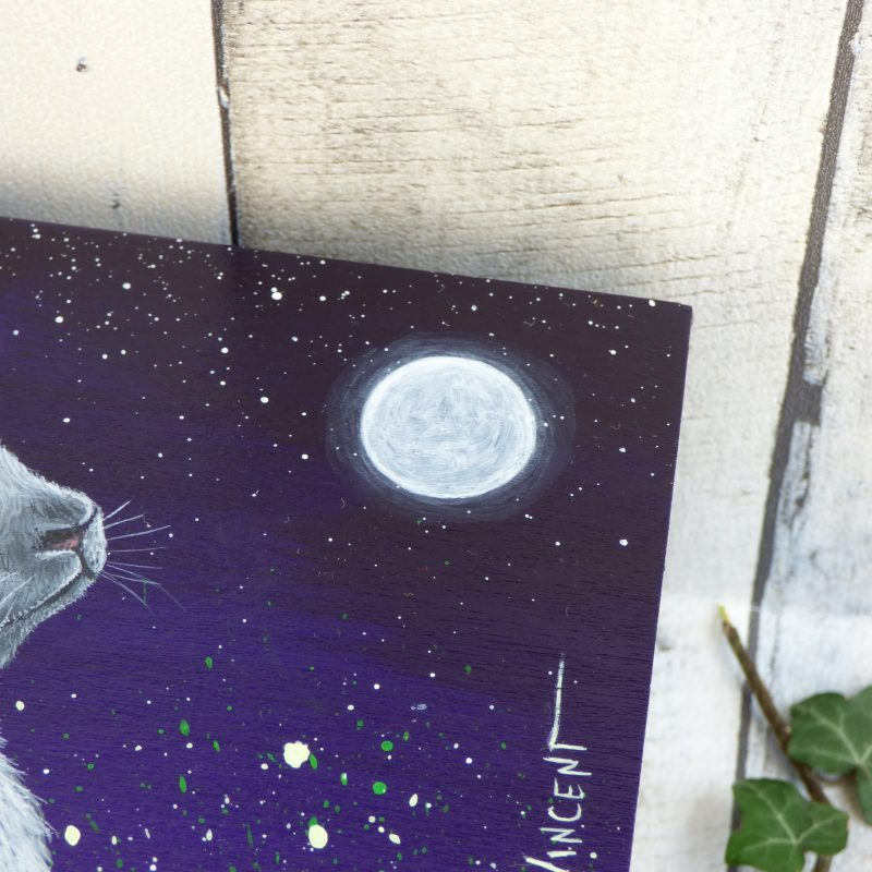 lune peinte sur boite en bois