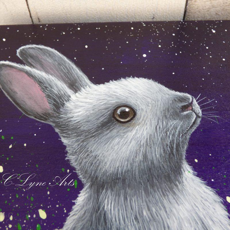peinture de lapin peint sur boite en bois