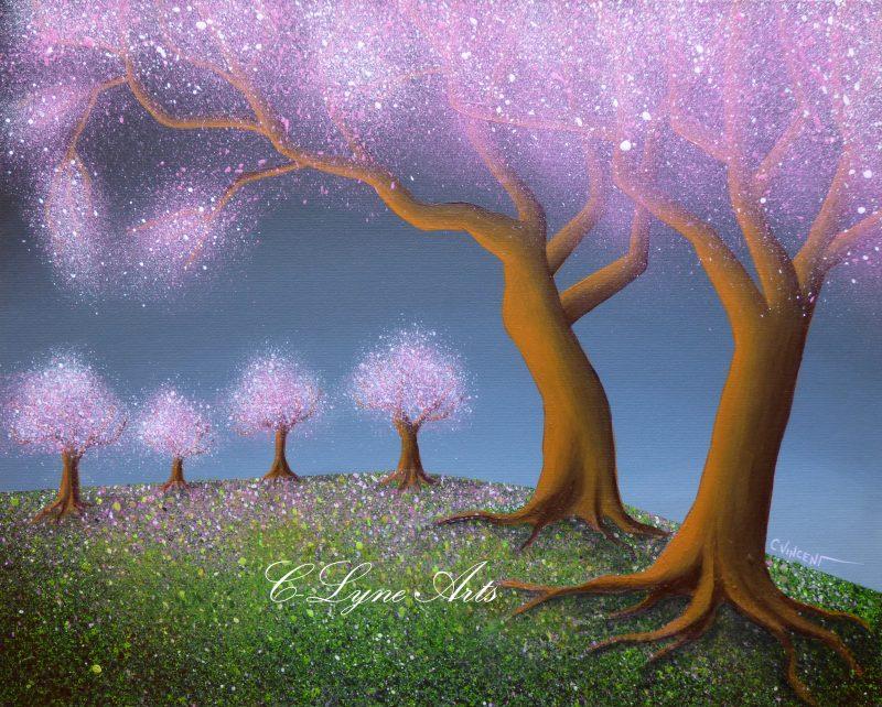 peinture d'arbres feeriques roses