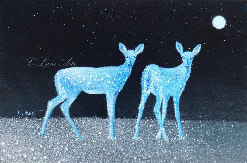 peinture de biches bleues au clair de lune