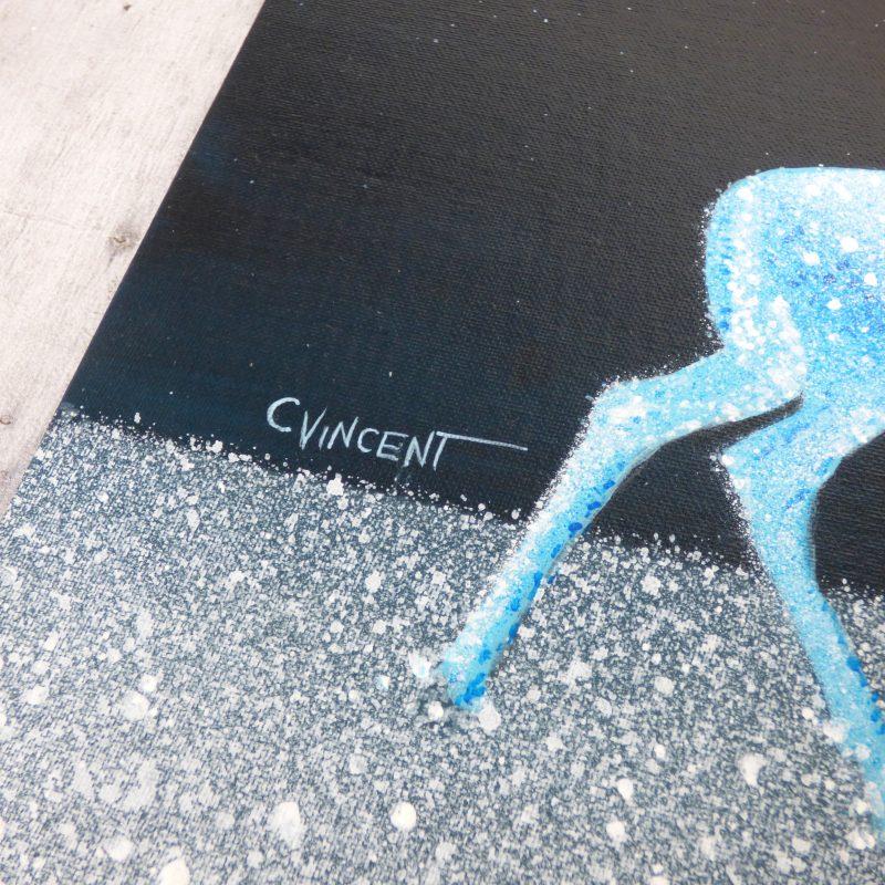 peinture de biches bleues, signature de l'artiste C VINCENT