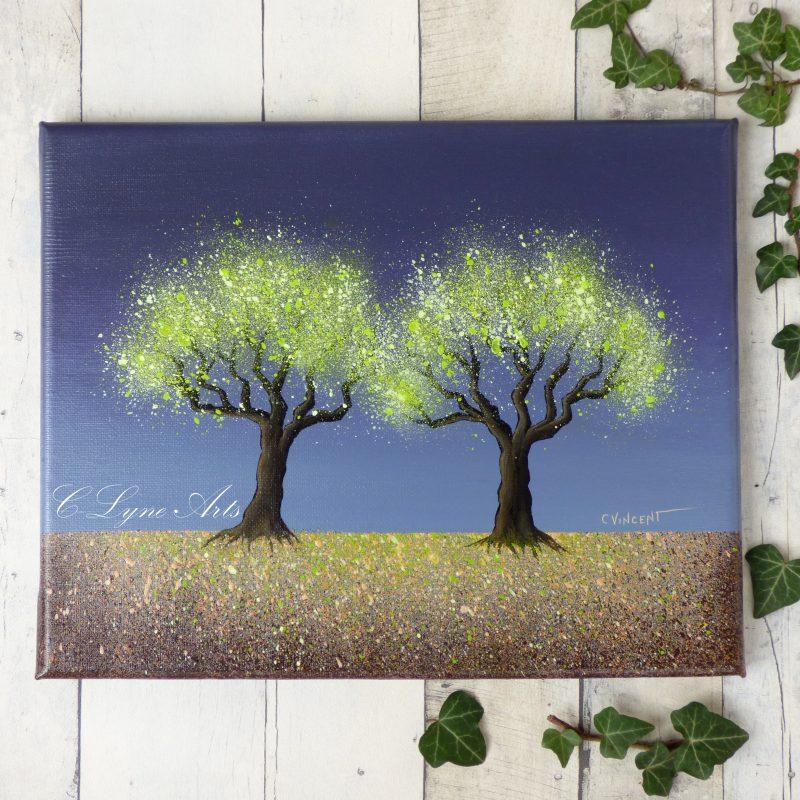 peinture d'arbres, feuilles vertes