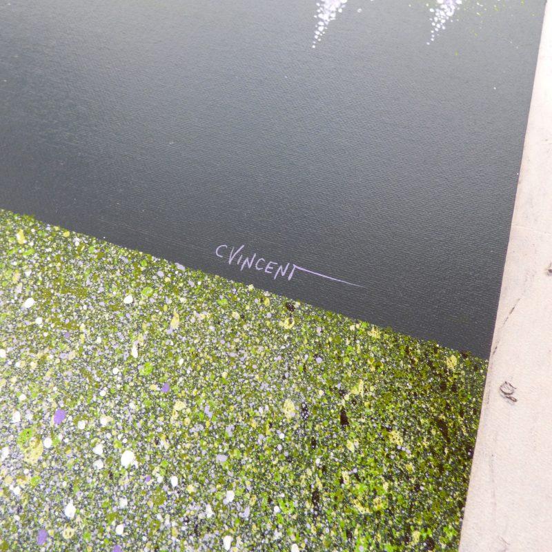 tableau peinture d'arbre, signature de l'artiste C VINCENT