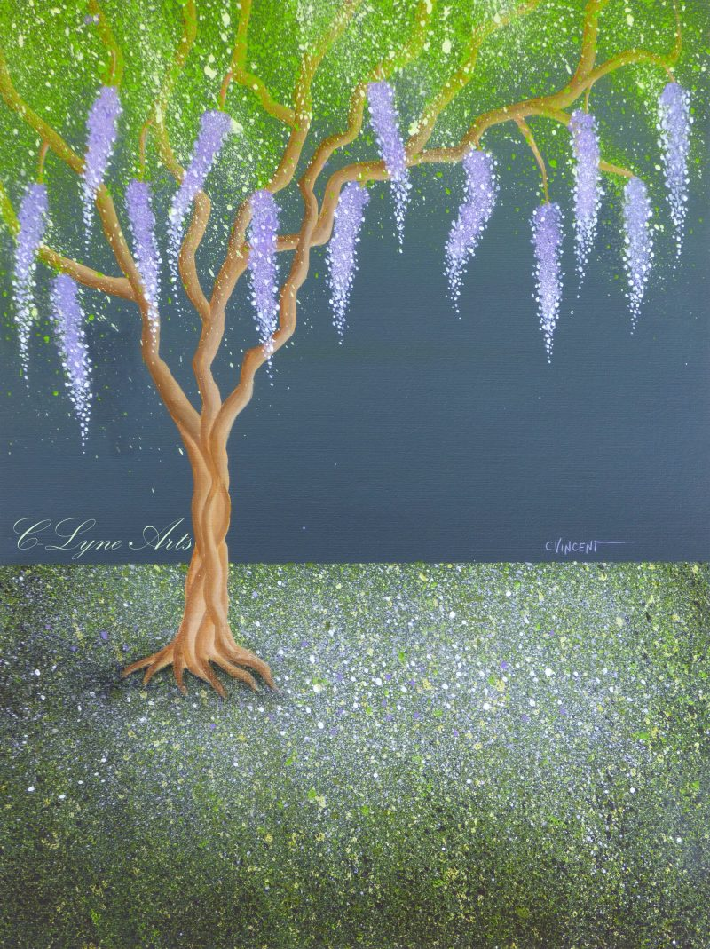 peinture d'un arbre glycine style feerique