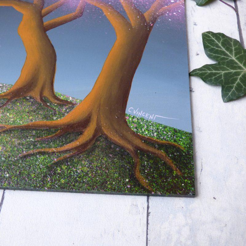 peinture d'un tronc et racines d'arbres