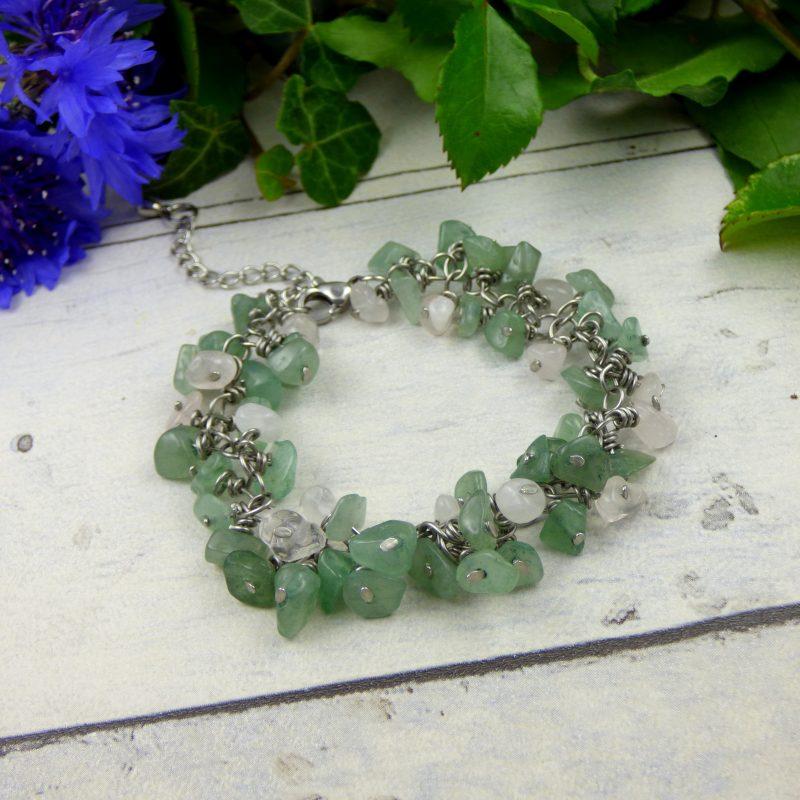 bracelet artisanal en grappe de pierre d'aventurine