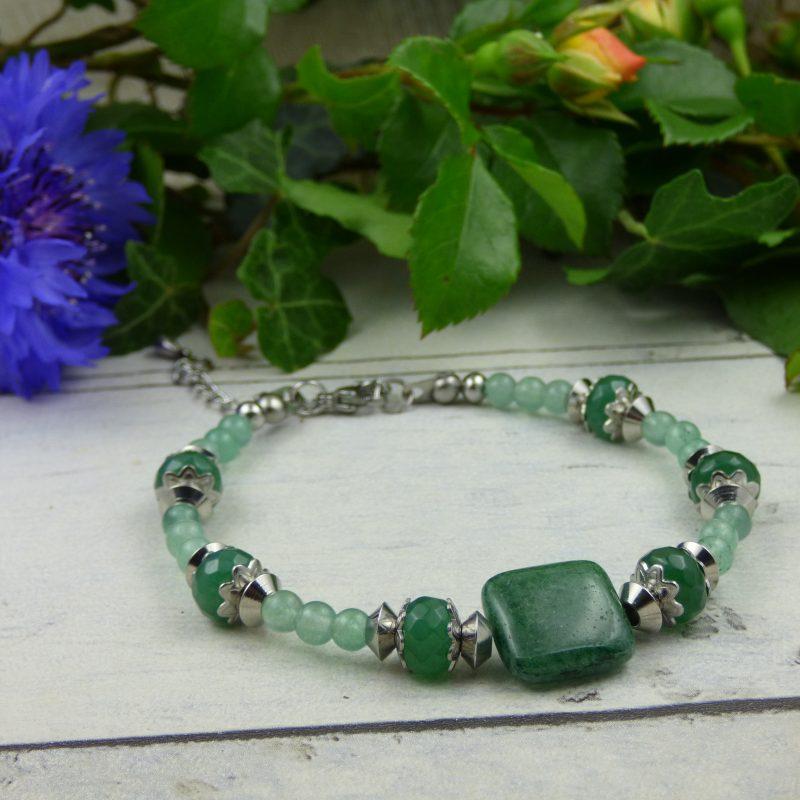 bracelet nature, fait main en pierre naturelle d'aventurine